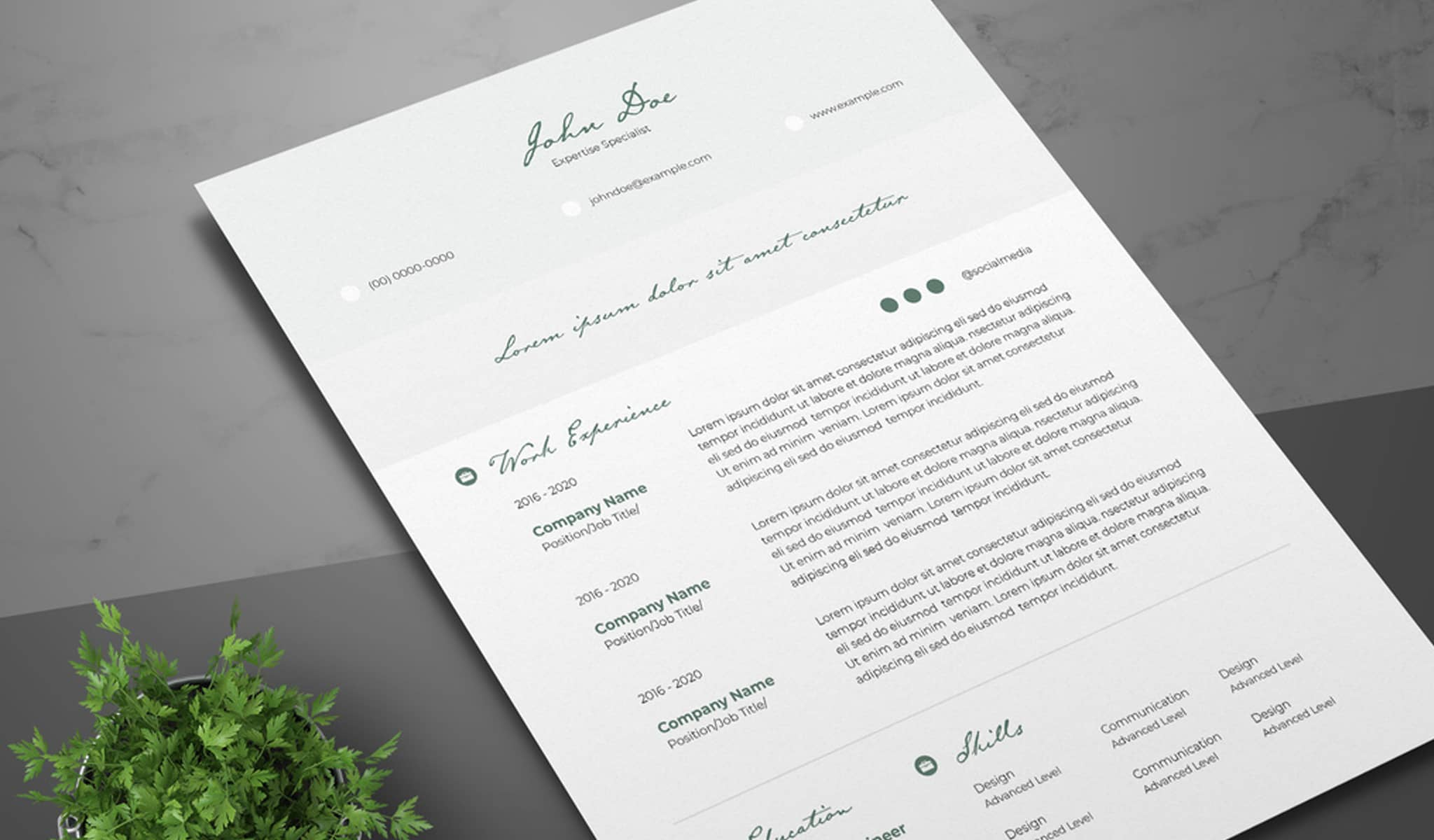 Green Elegant Accents Resume Template