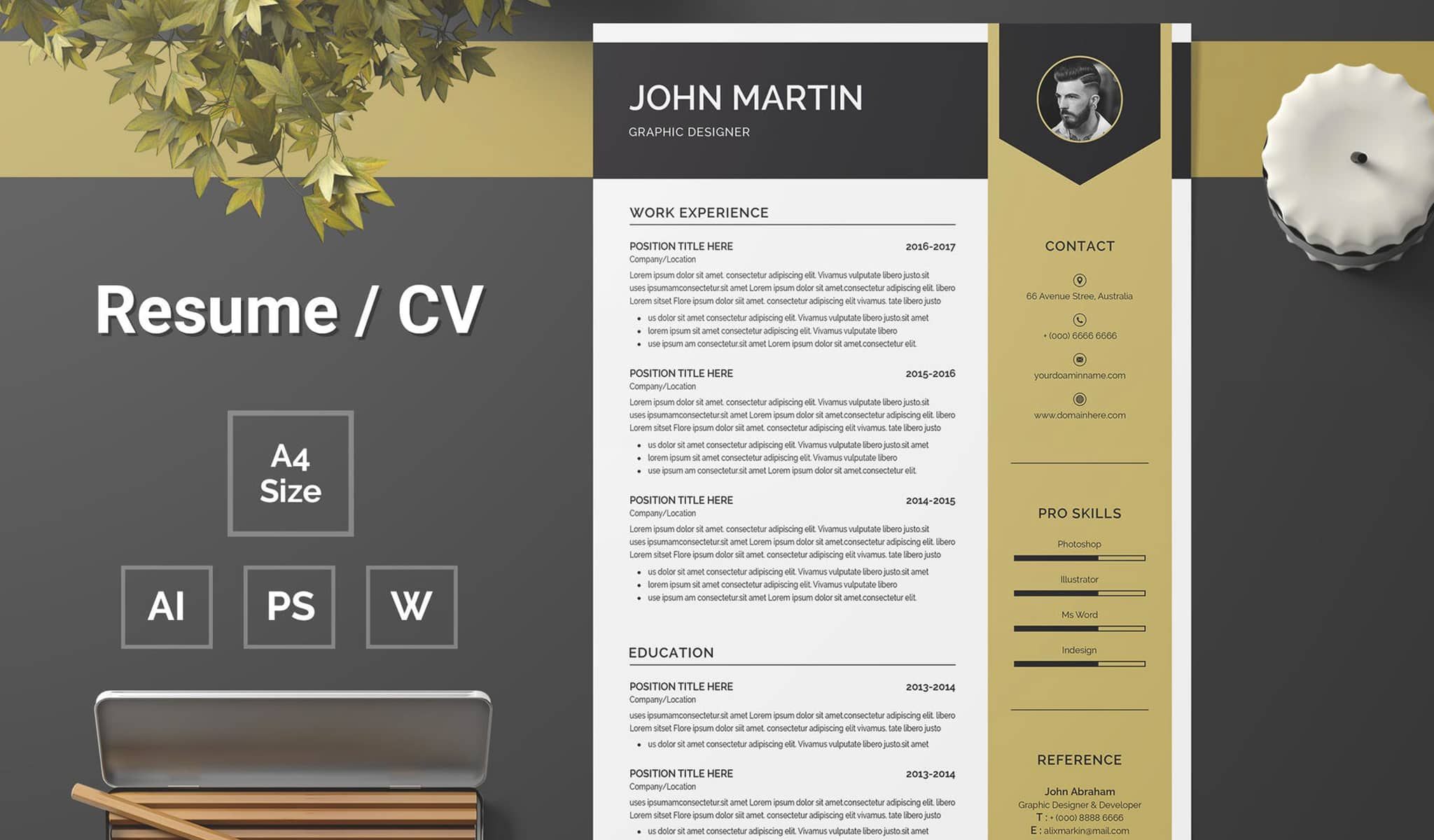 Black and Brown Combo Resume Template