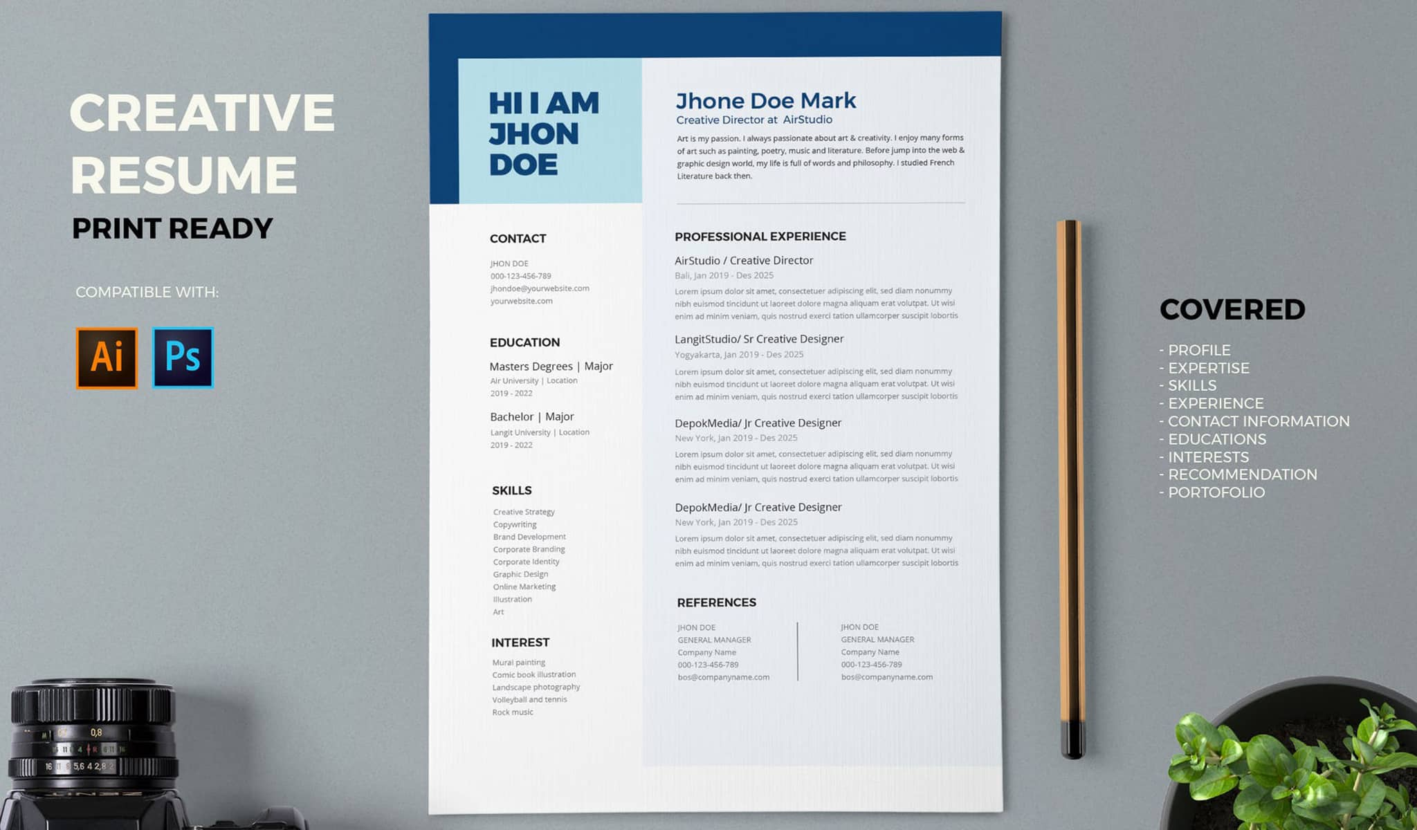A Classic In Shades Of Blue Resume Template