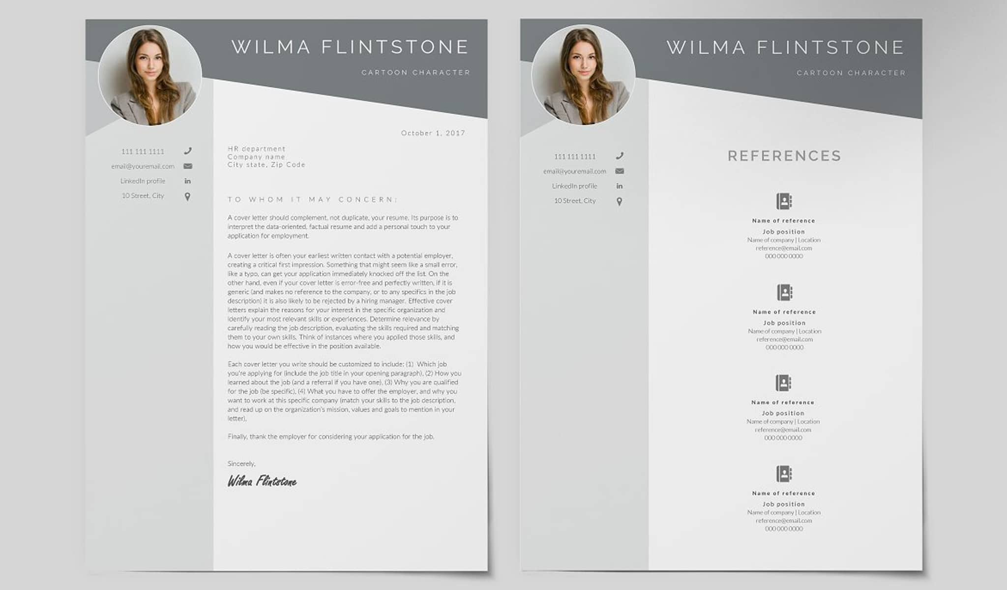 All The Grey Tones Resume Template