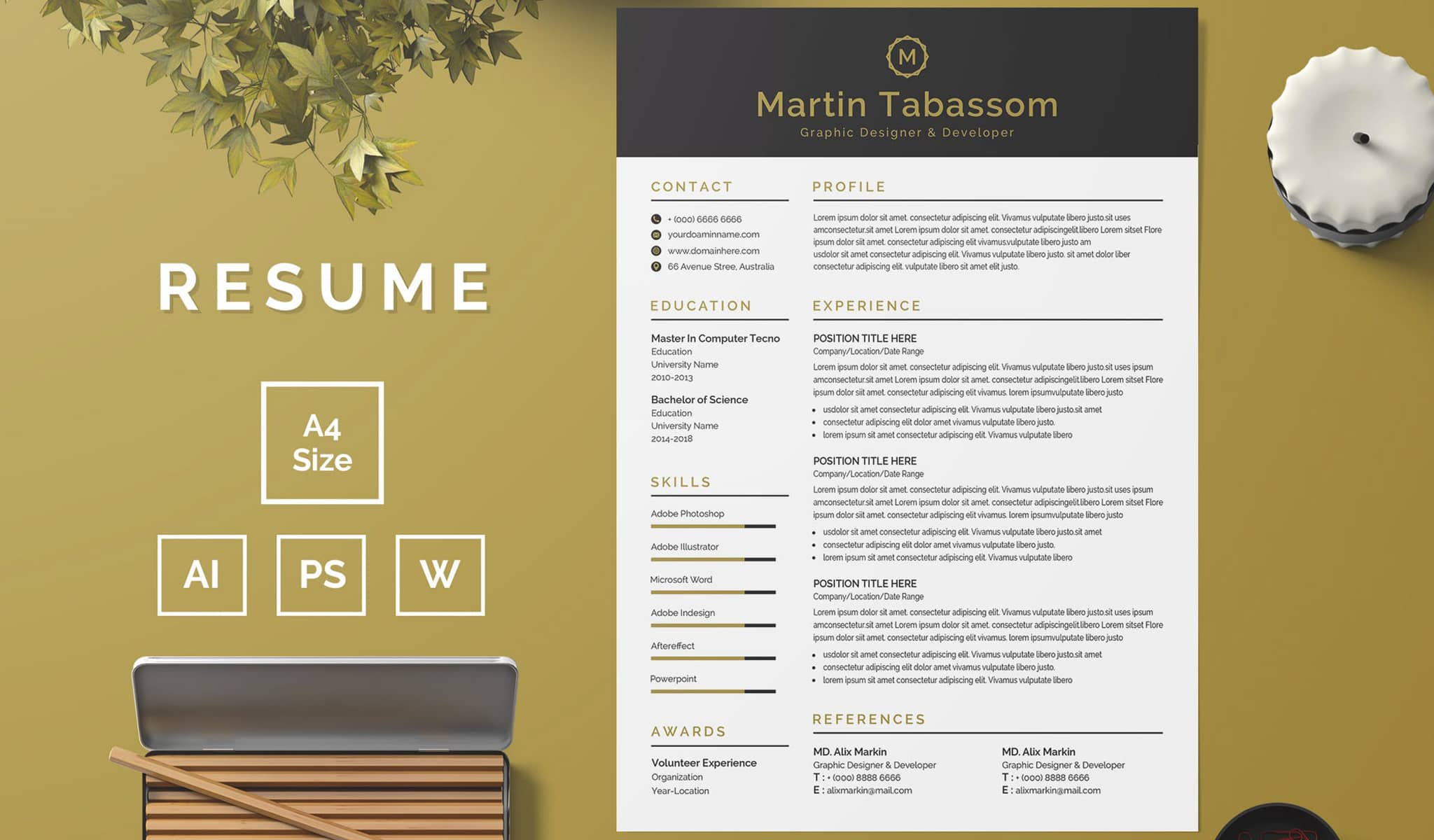 Black And Yellow Combination Resume Template