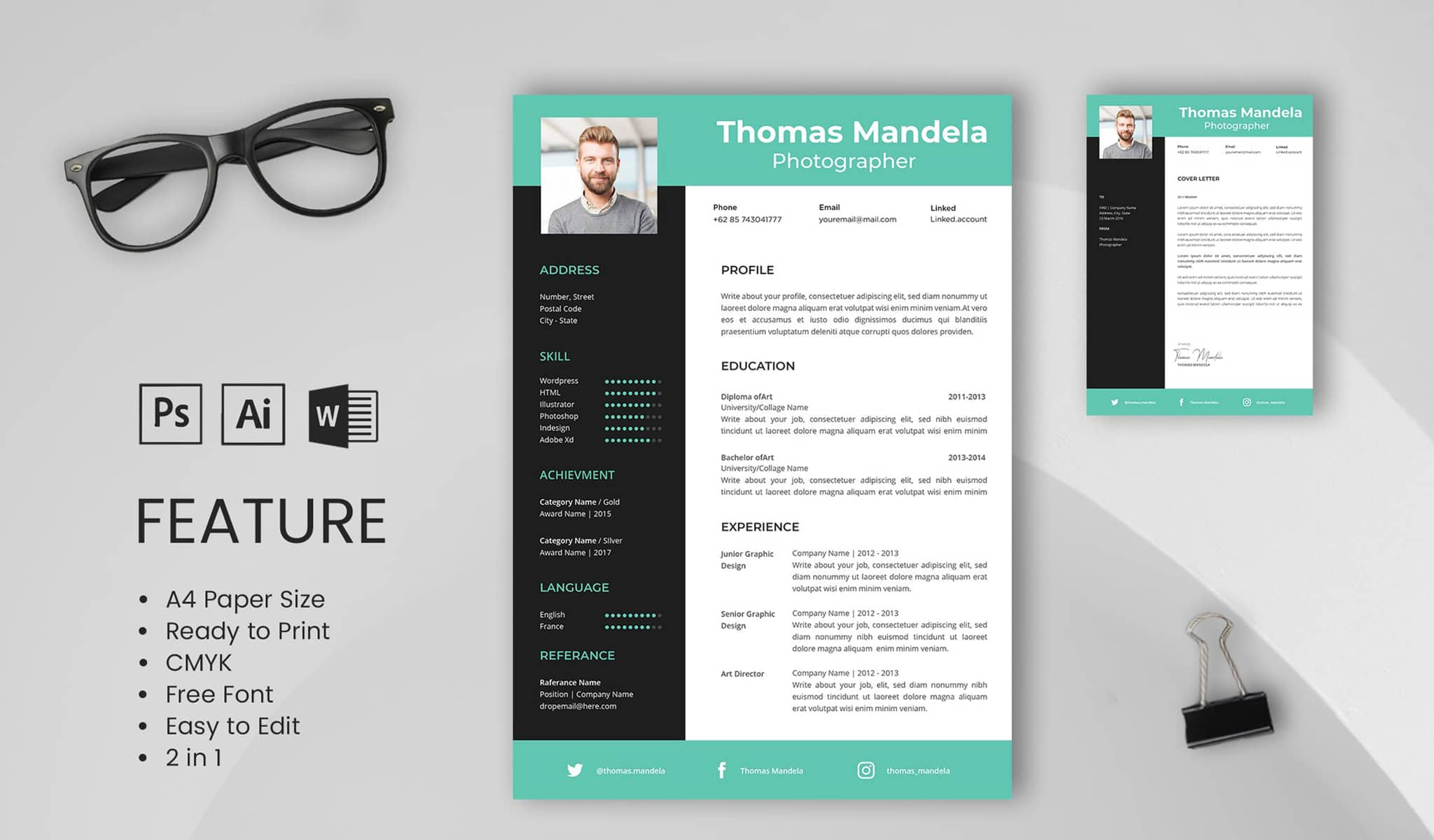 Teal Love Resume Template