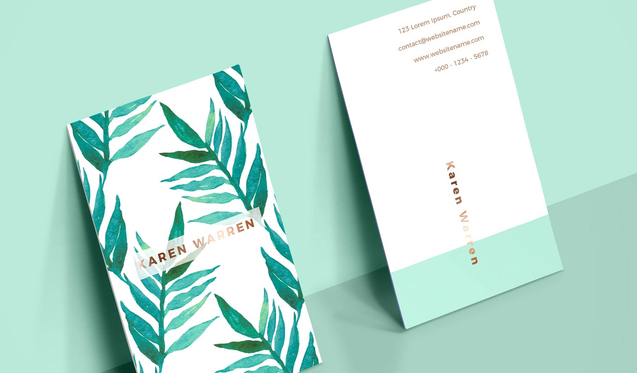 Botanical Watercolor Design Business Card Template