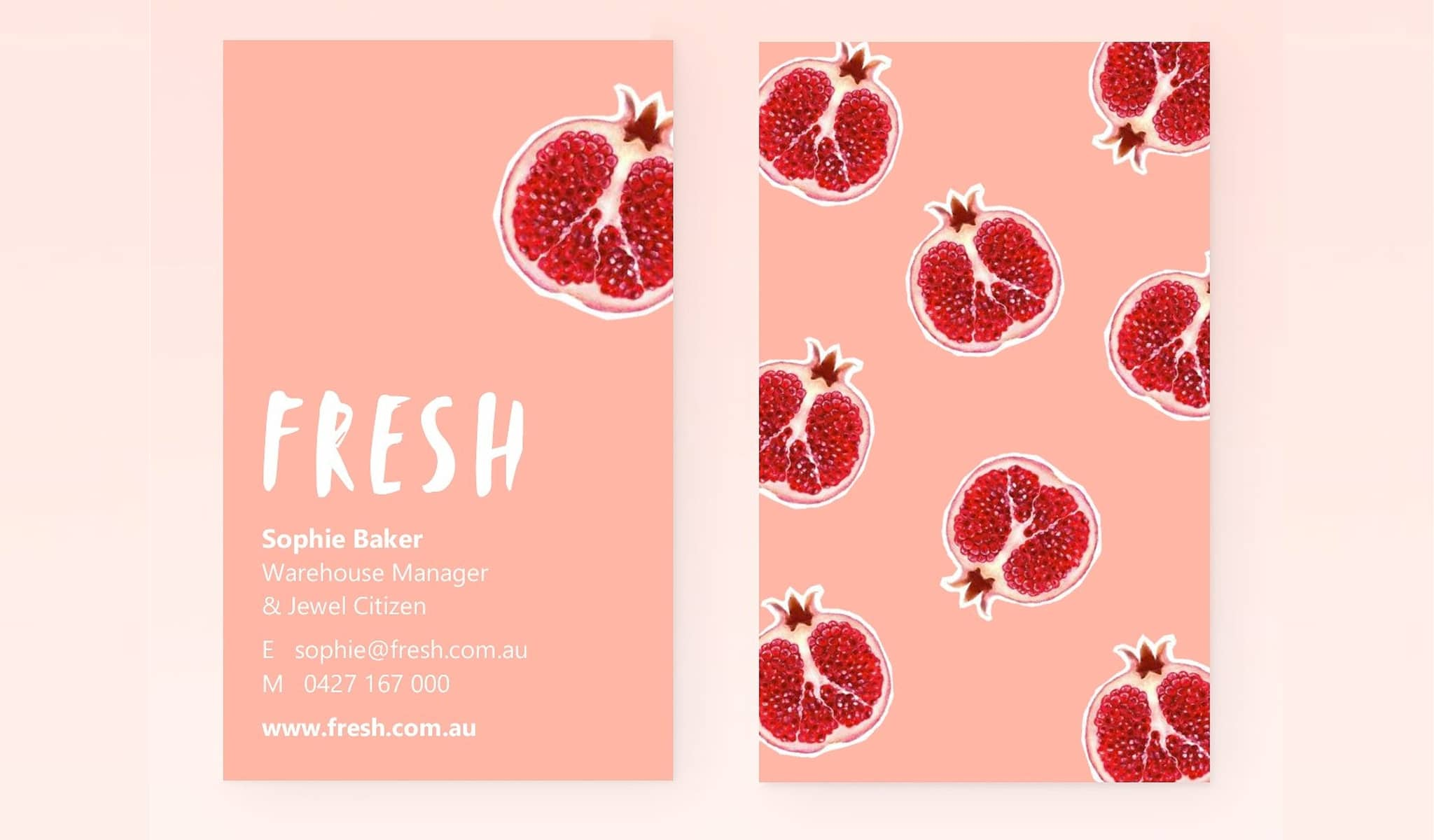 Pomegranate Fruit Explosion Business Card Template