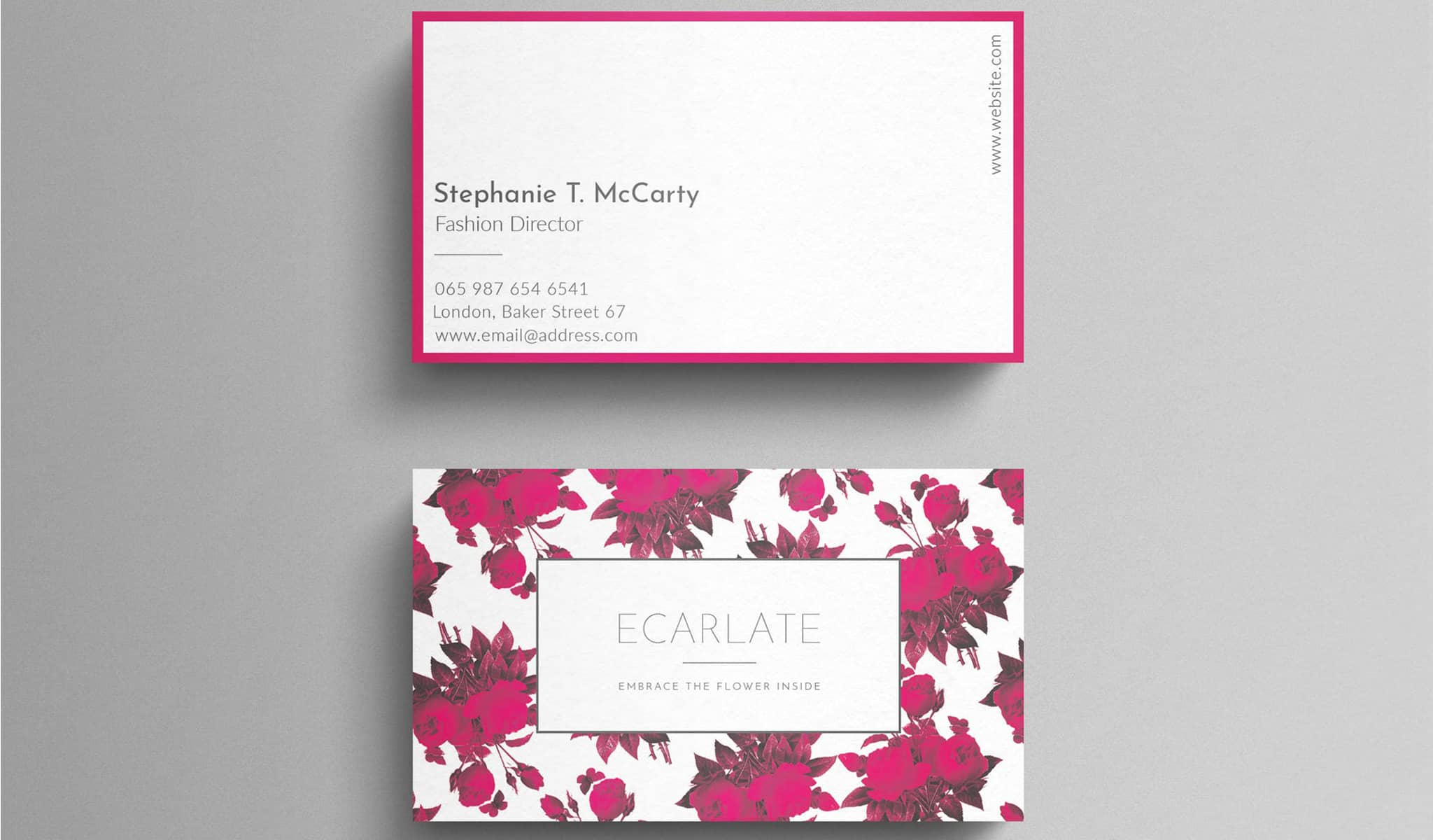 Fuchsia Flowers Business Card Template