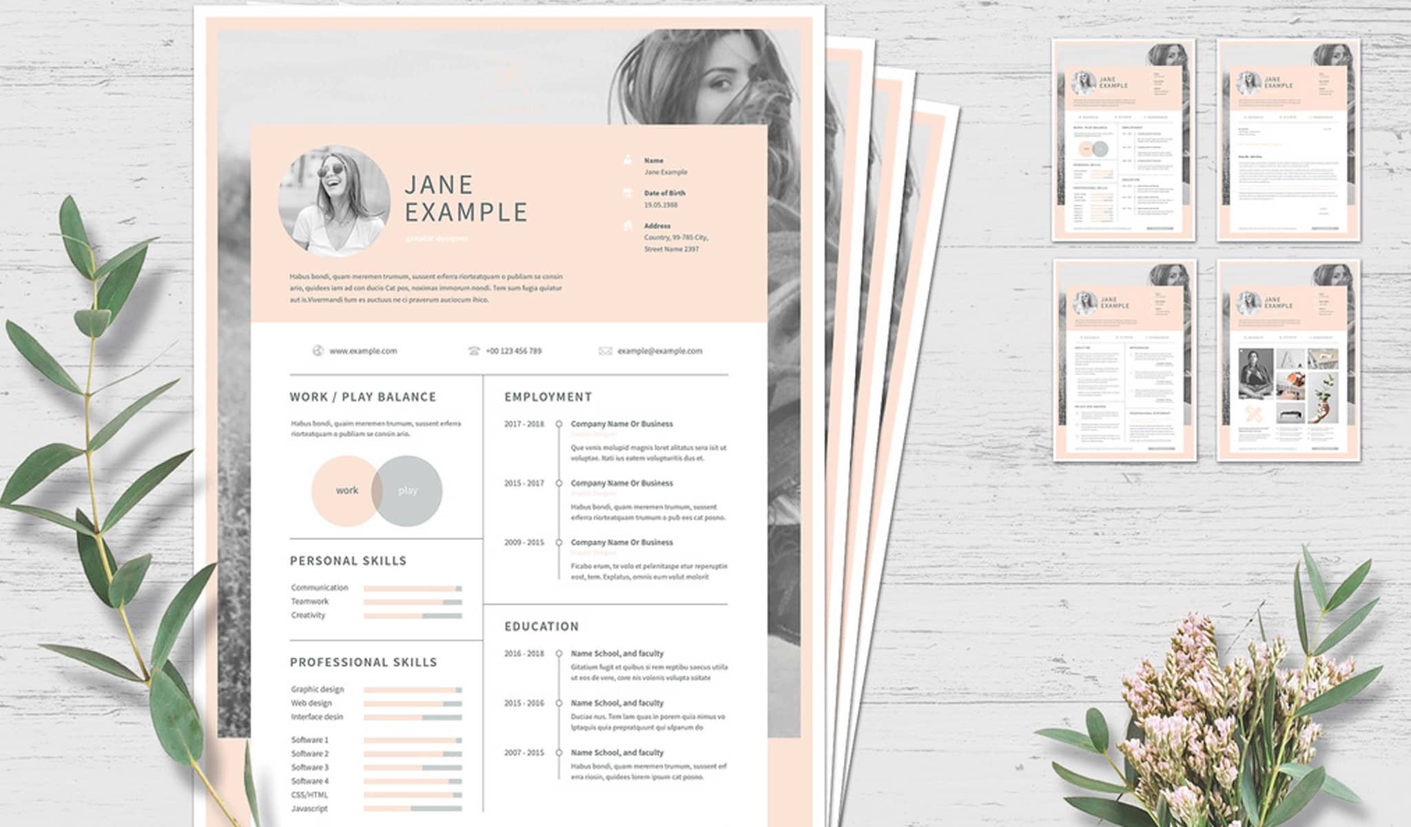 Pale Pink Paradise Resume Template