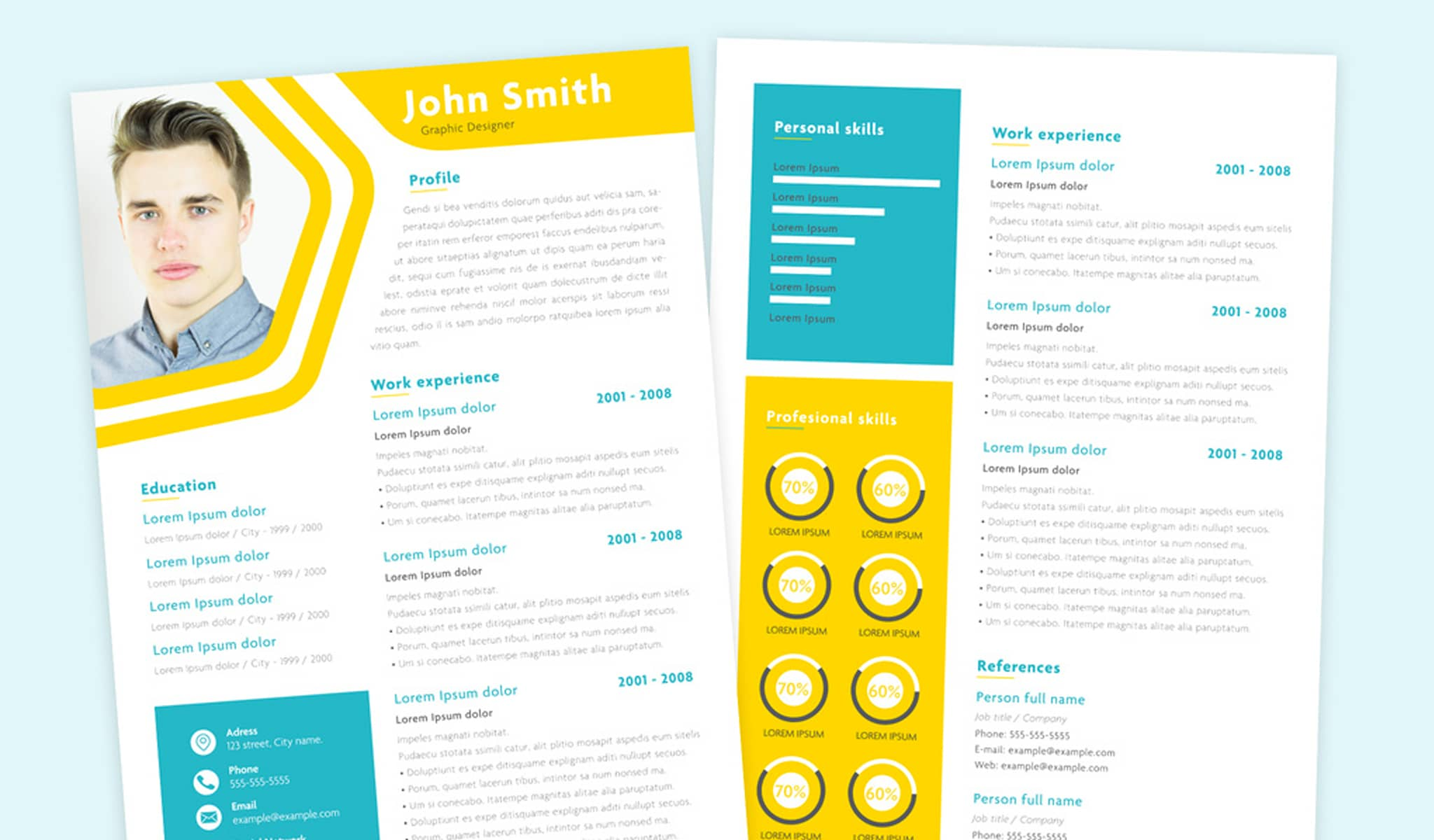 Vivid Color Resume Template