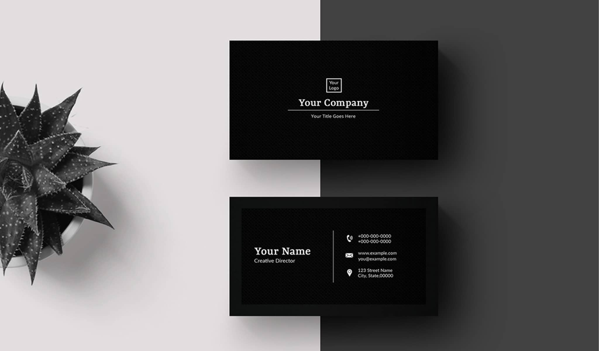 Black Background Business Card Template