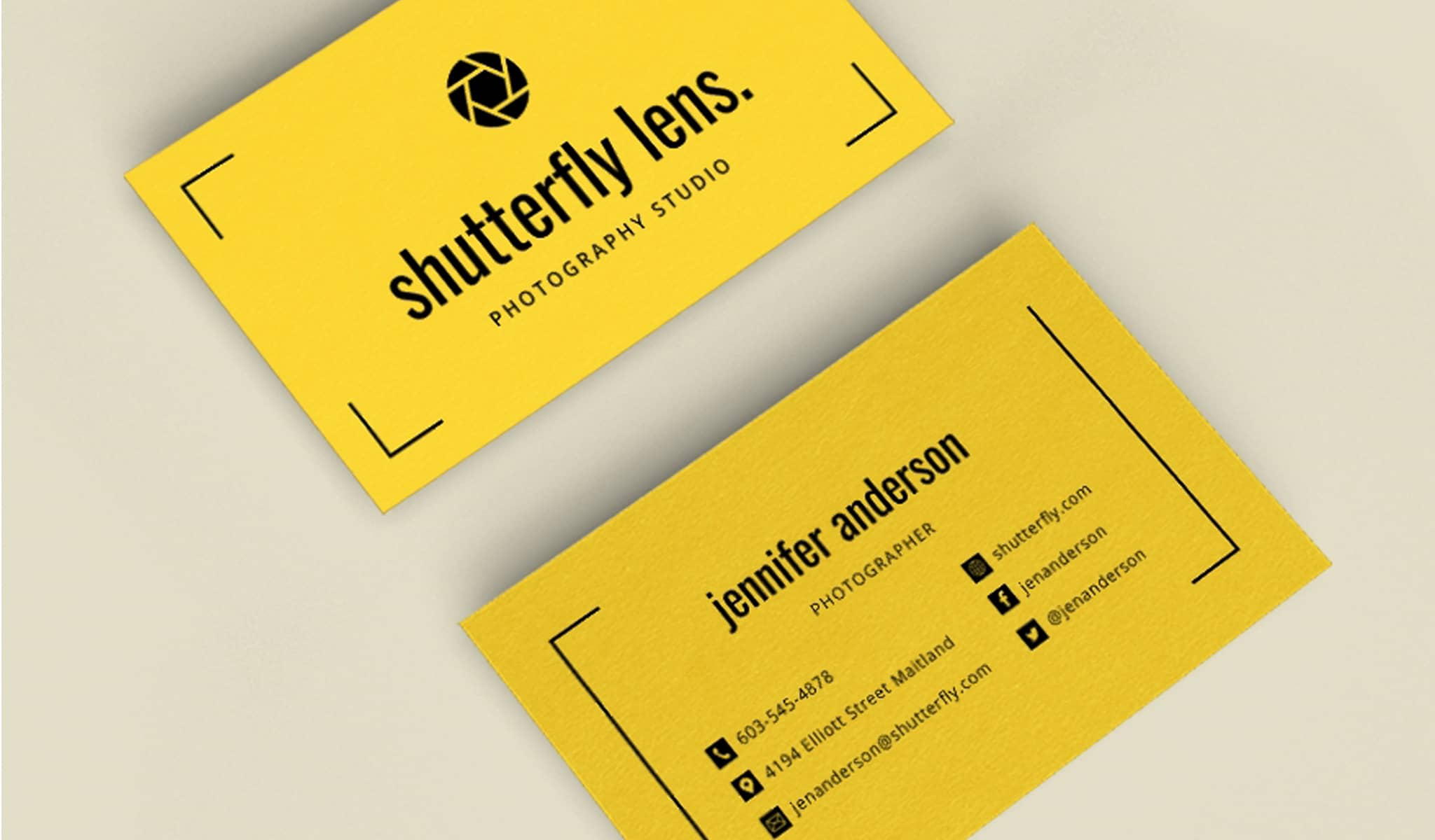 Yellow and Black Simplicity Business Card Template