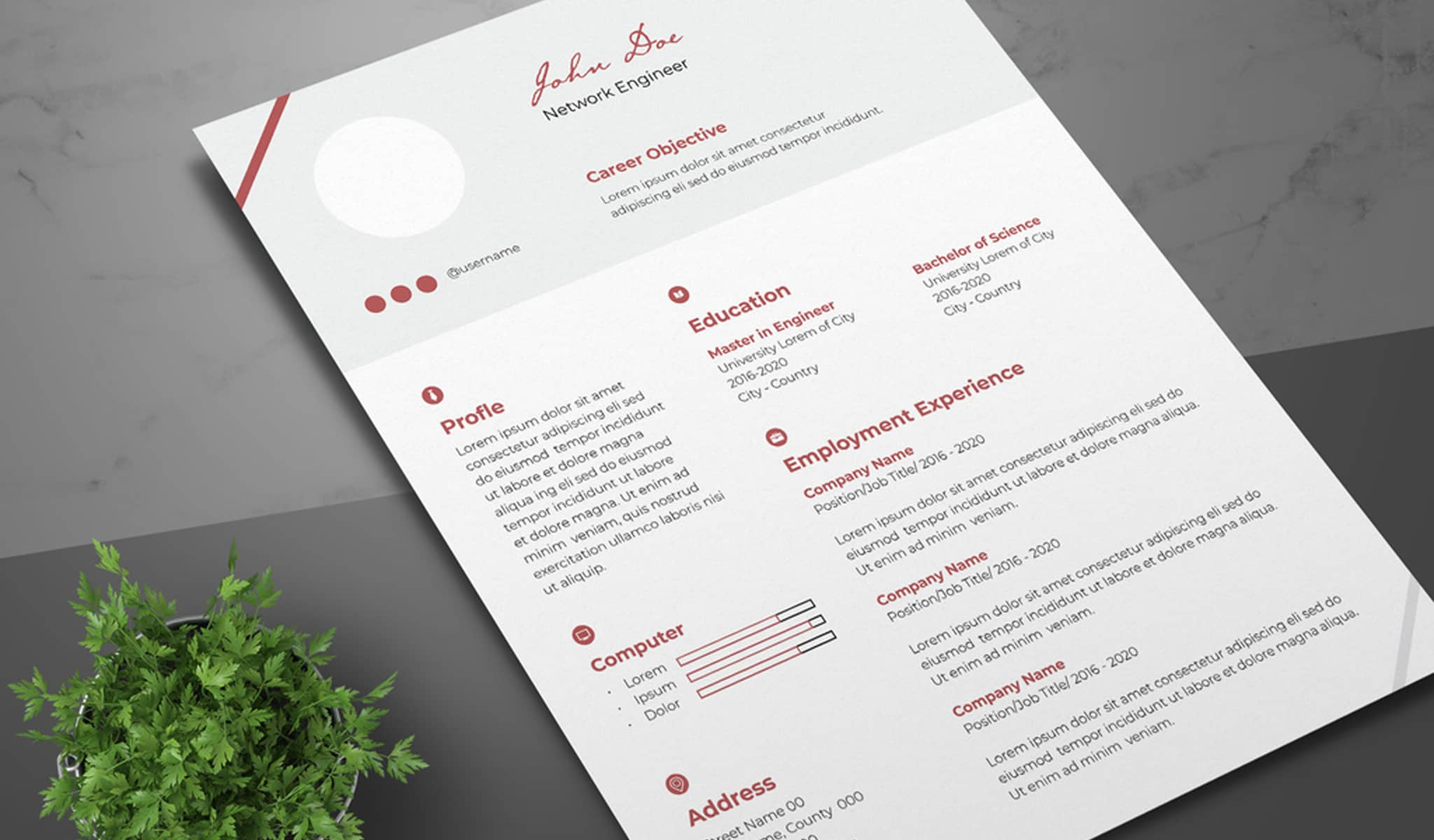 Red Accents Resume Template