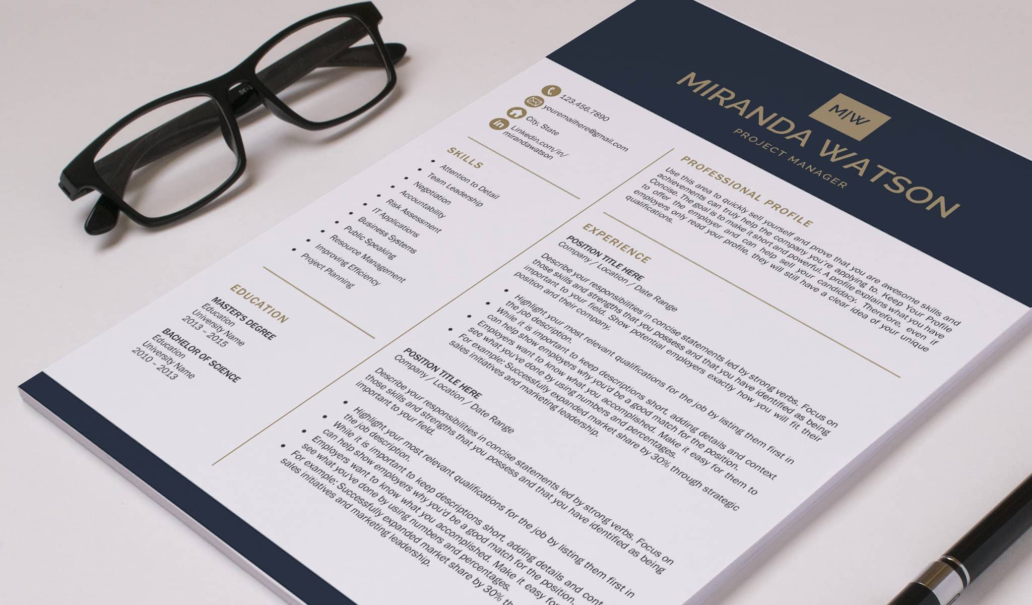 Gold and Deep Blue Resume Template