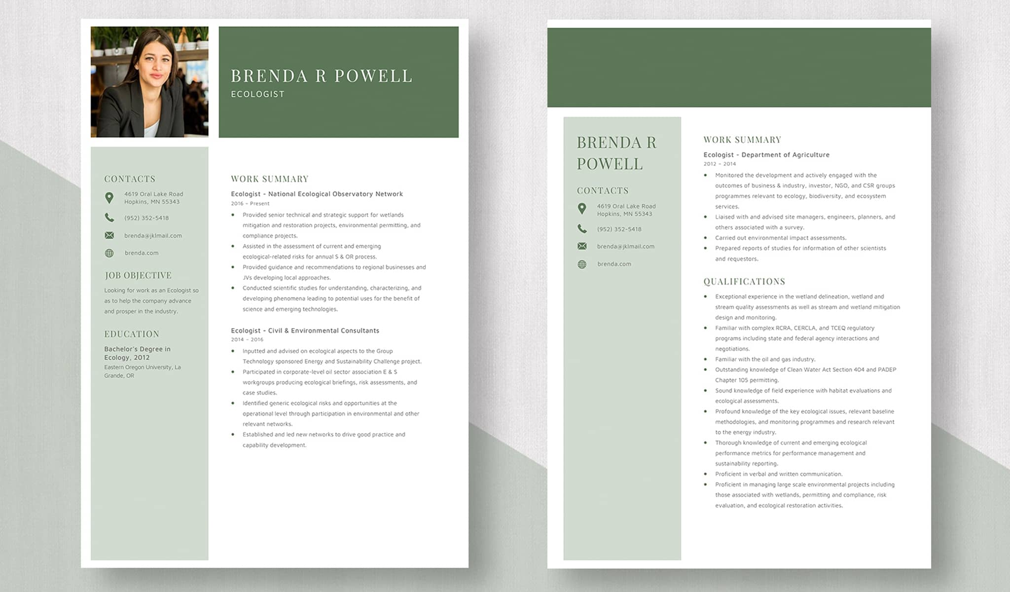 Soothing Green Resume Template
