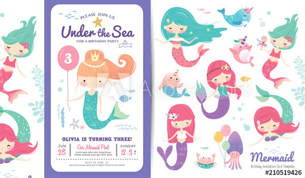 Mermaid themed birthday invitation