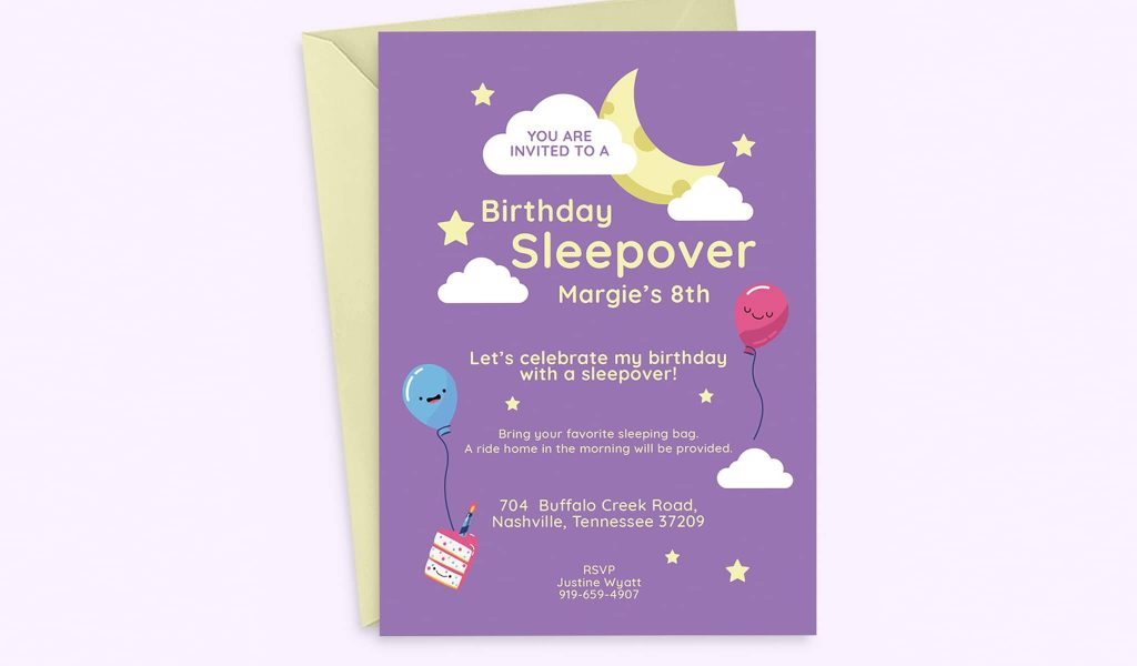 Birthday sleepover invitation