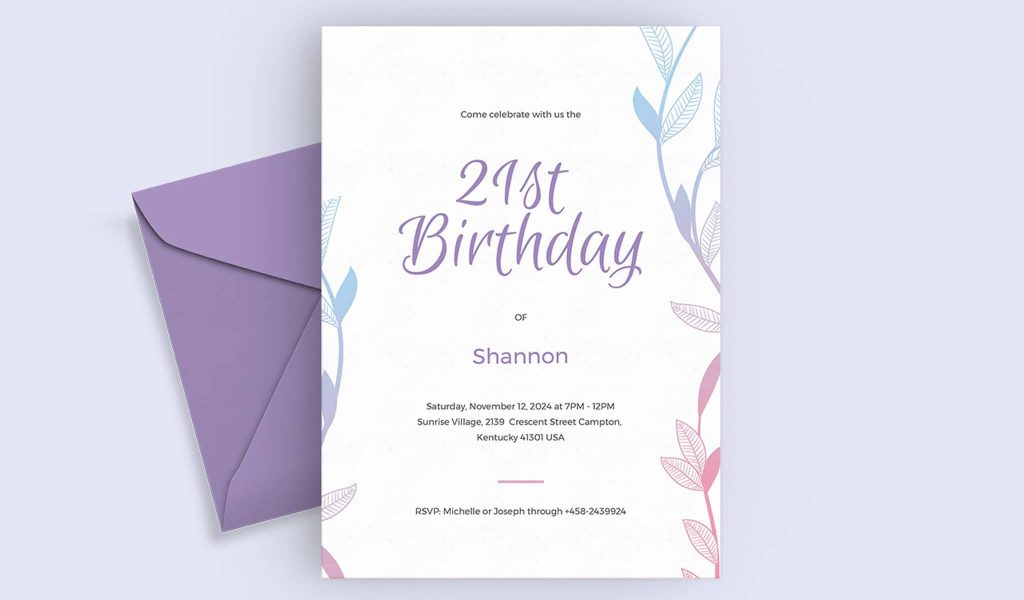 The elegant birthday invitation
