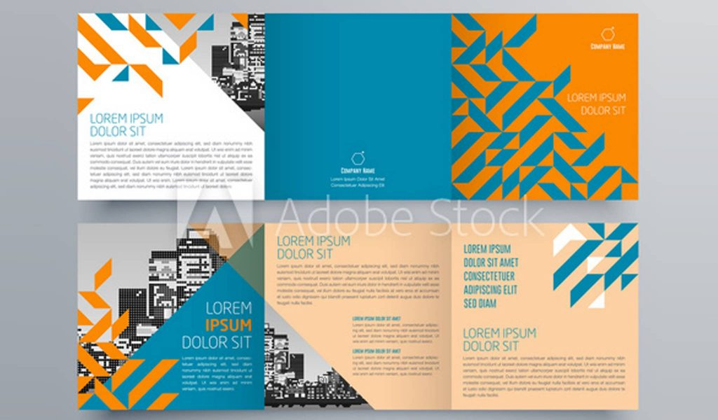 Trendy pattern and trendy colors brochure template