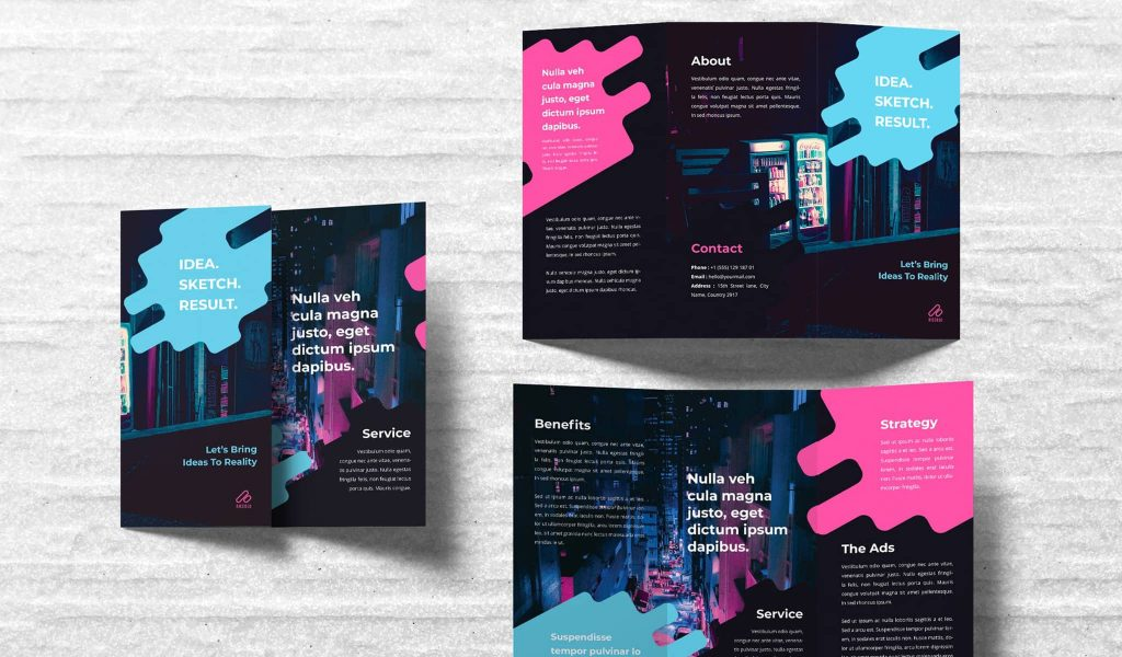 Black background with a splash of vivid colors brochure template