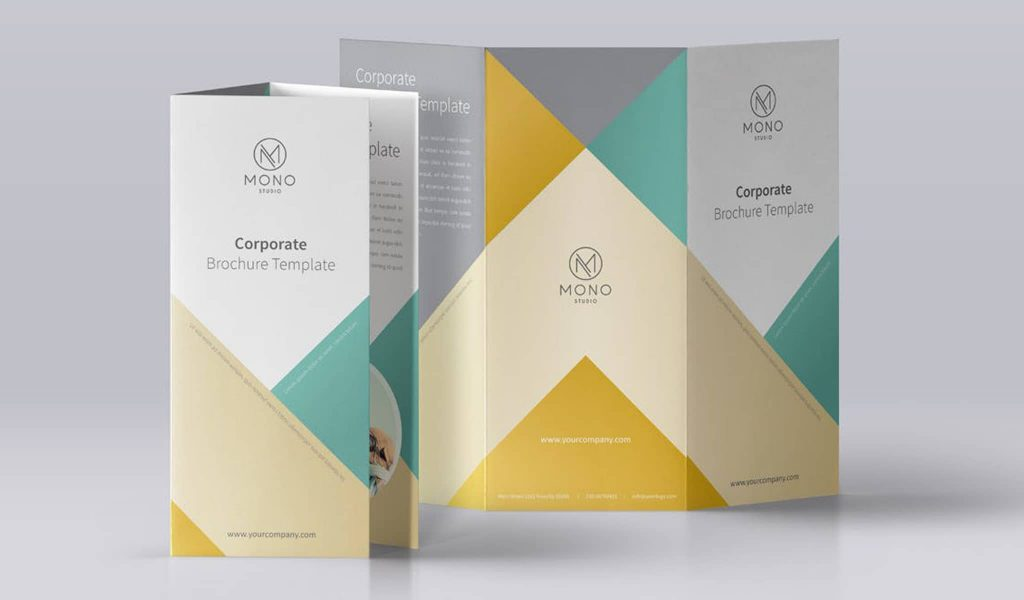 Triangle elements in neutral colors brochure template