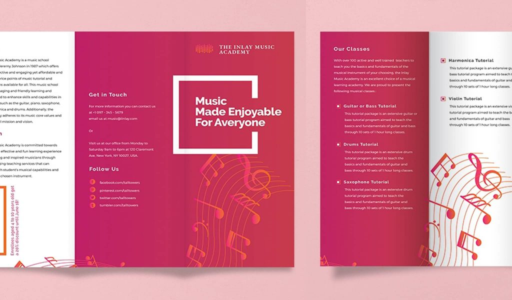 Pink and Musical brochure template