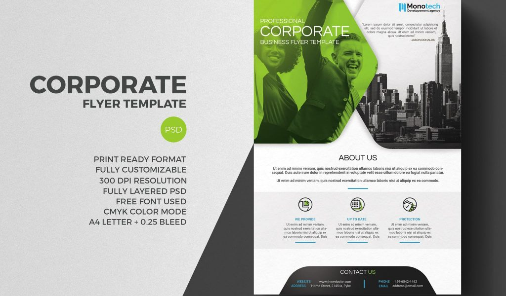 Combination of two corporate related pictures flyer template