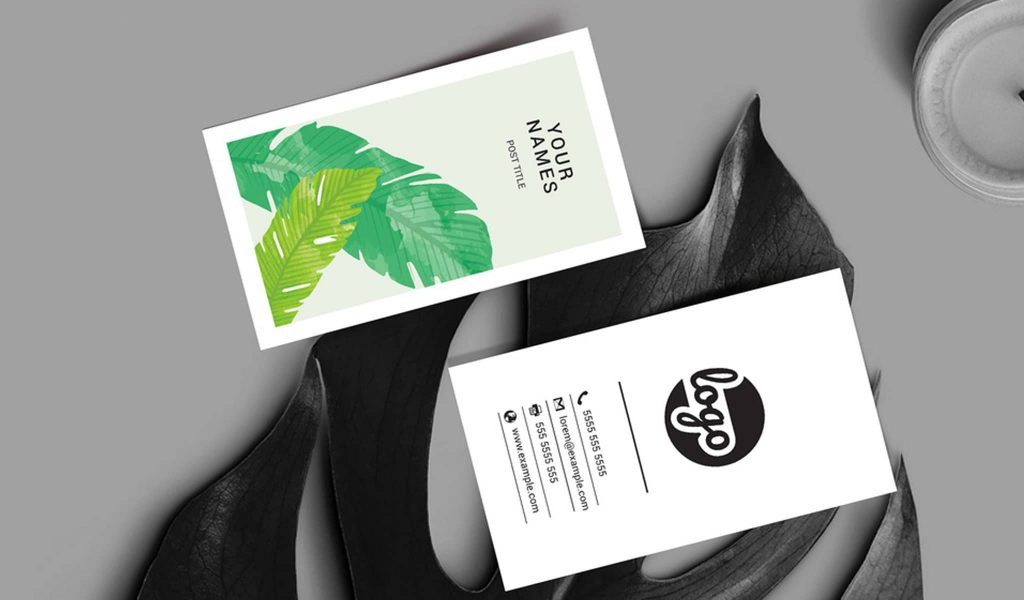 Leaf-pattern design business card