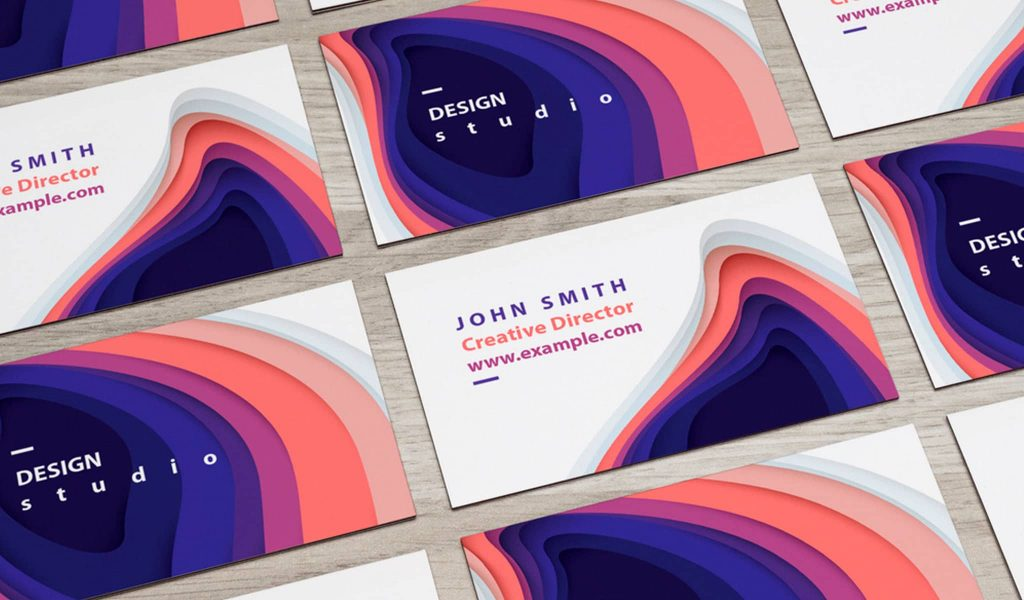 Colorful paper cut illustration business card