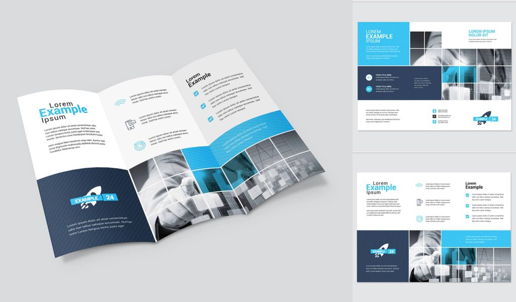 Tri-fold with square elements brochure template