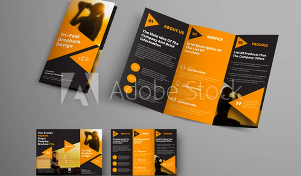 Black and orange Combination brochure template