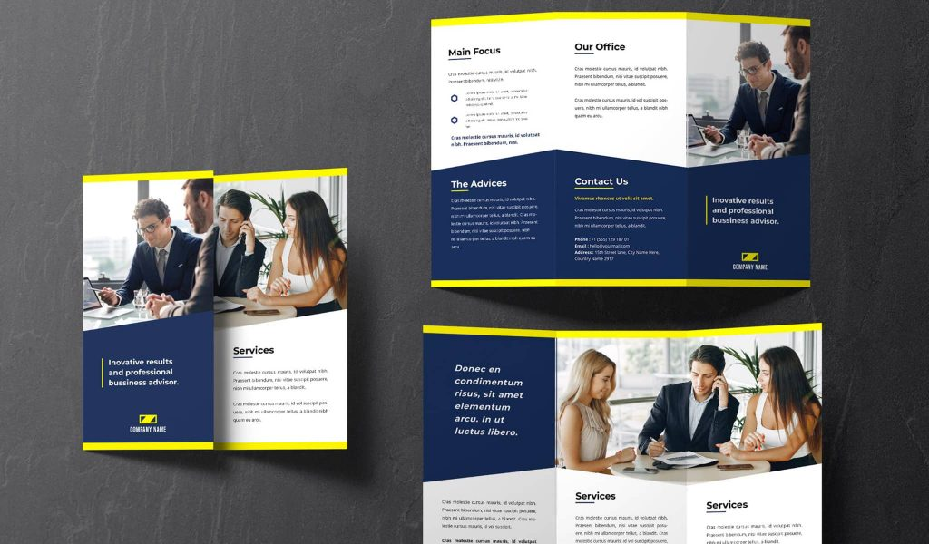 Navy Blue and Yellow elements brochure template