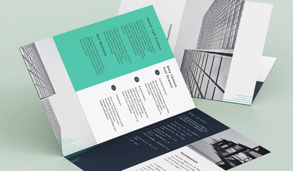 Bi-fold brochure with teal elements brochure template