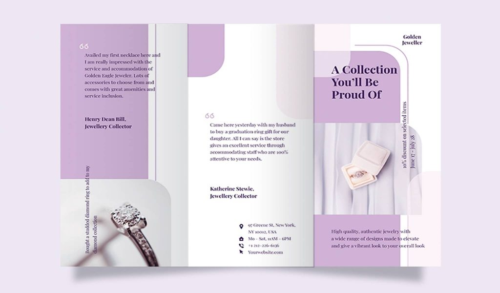 White and purple winning combination brochure template