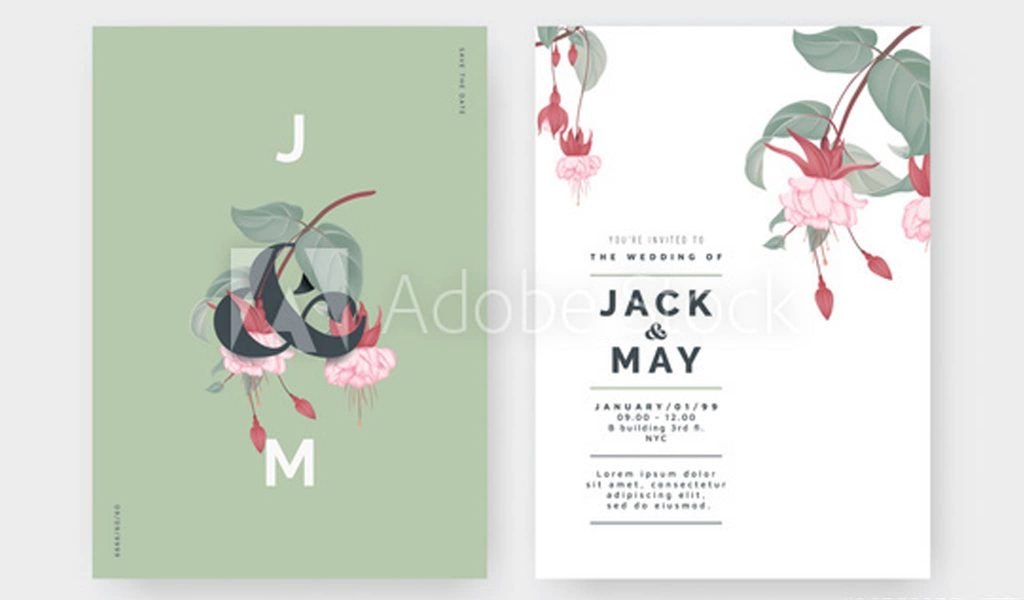 Minimalistic botanical wedding invitation