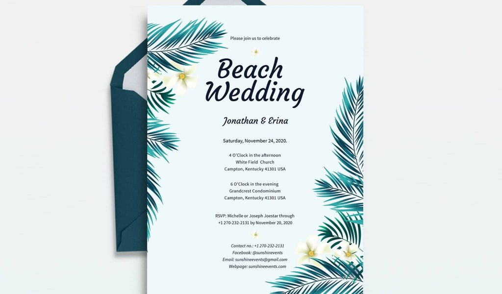 Beach Appropriate wedding invitation