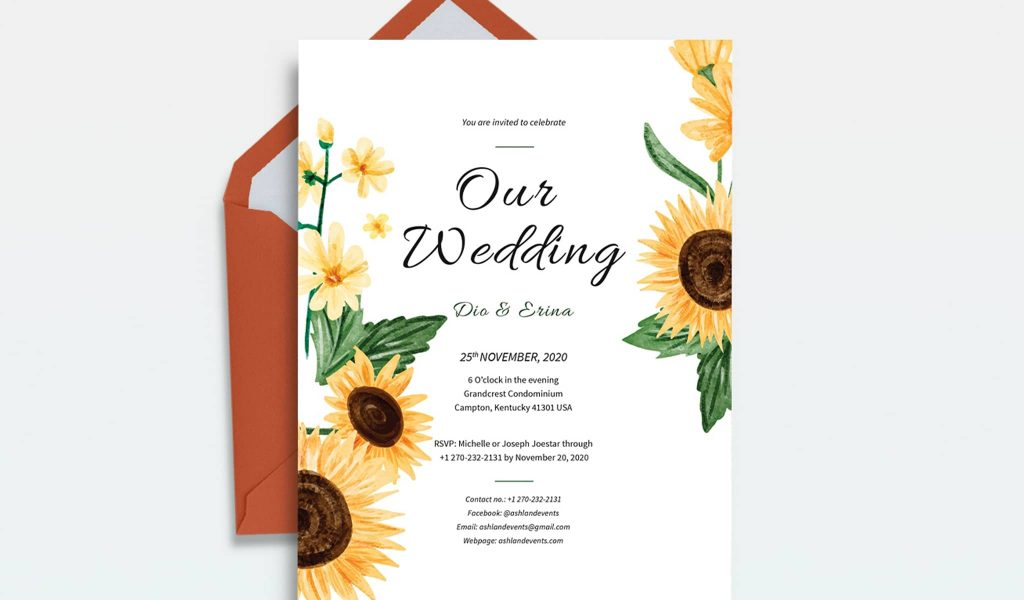 Sunflower-themed wedding invitation