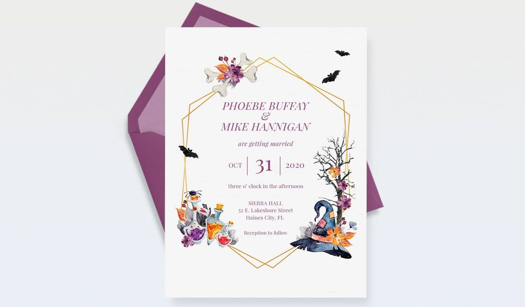 Halloween themed Wedding invitation